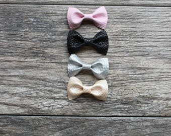Toddler bow, baby girl bow, leather bow, toddler girl bow