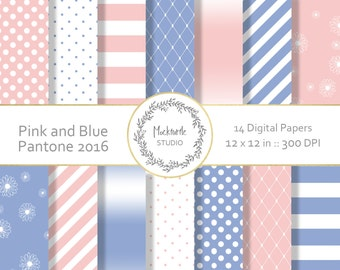 Pink and Blue digital paper - Pink and Blue Clip art - Pink and Blue Clipart - Scrapbook paper - Commercial use