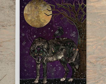I Don't Speak Human - Greeting Card, Animal Card, Wildlife Card, Wolf Card, Wolves, Raven Card, Crow, Fantasy Art, Illustration, Art Card