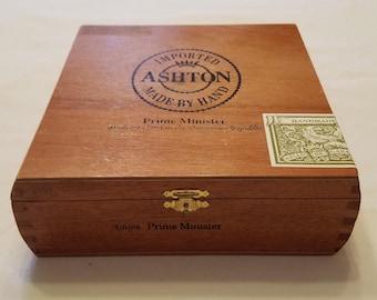 Wooden Cigar Box, Ashton Prime Minister, Brown Cigar Box