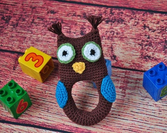 Baby rattle Owl rattle Baby toys Baby shower gift Baby teether Infant toys Toys for babies Newborn toys Soft rattles Teething