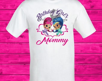 Birthday Girl's Mommy Shimmer and Shine Iron On Transfer T Shirt Design