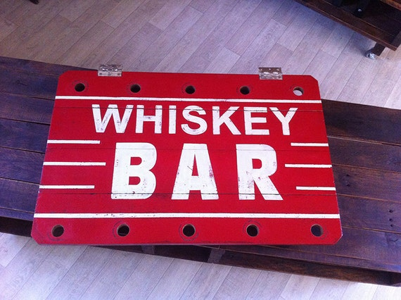 Hand-painted Replica Vintage Whiskey Bar Sign