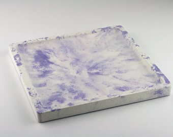 Tray square marbled concrete / / empty Pocket concrete / / decorative concrete tray / / concrete tray / / cast-iron serving tray