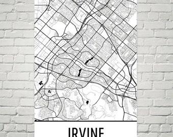 Irvine Map Art Print, Irvine CA Art Poster, Irvine Wall Art, Irvine Gift, Map of Irvine, Irvine Print, Irvine Poster, Birthday, Modern, Art