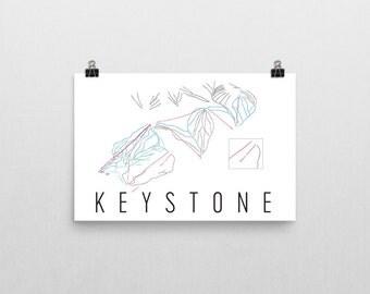 Keystone Resort Ski Map Art, Keystone Colorado, Keystone Trail Map, Keystone Ski Resort, Colorado Art, Colorado Gifts, Ski Sign, Ski Decor