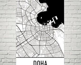 Doha Map, Doha Art, Doha Print, Doha Qatar Poster, Doha Wall Art, Doha Gift, Doha Poster, Doha Decor, Doha Map Art, Doha Art Print, Modern