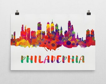 Philadelphia Skyline, Philadelphia Skyline Canvas, Philadelphia Skyline Art, Philadelphia Watercolor Skyline, Skyline of Philadelphia