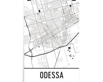 Odessa Map, Odessa Art, Odessa Print, Odessa TX Poster, Odessa Wall Art, Map of Odessa Texas, Odessa Gift, Odessa Decor, Odessa Map Art