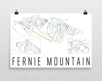 Fernie Ski Map Art, Fernie British Columbia, Fernie Trail Map, Fernie Ski Resort Print, Ski House, Ski House Decor, Ski Chair, Ski Lift
