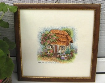 Cottage house, embroidered painting