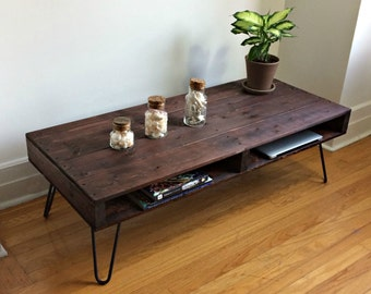 Mahogany Pallet Style Coffee Table. Rustic Coffee Table, Pallet Coffee Table, Hairpin Leg table, Industrial Coffee Table