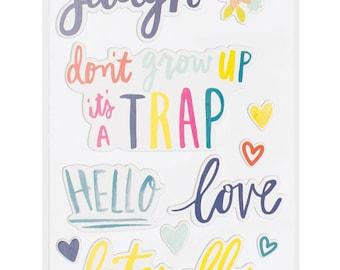 """Dear Lizzy Lovely Day Phrase Chipboard Stickers 6""""X12"""" 2/Pkg"""