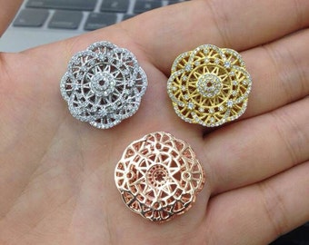 Hollow Flower  tassel head Micro paved , CZ Micro Pave bead for Beading,Gold /Rosegold/white gold plated, 24mm 1pc