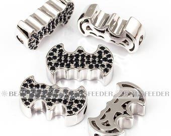 Bat man wing sign bead , super hero weapon, horizontal hole,Micro Pave CZ Bead/Clear Cubic Zirconia head beads,Men Bracelet Charms,13mm,1pc