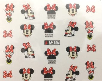 Disney Minnie Mouse New 20 3D Designed Nail Art Sticker Water Decals Transfer nail tips