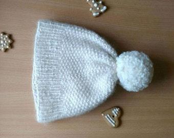 Pom Pom Knit Hat, Winter Hat for Women, Knit Hat with Pom Pom, Chunky Beanie Hat, White Wool Beanie for Women, Handknit Beanie Hat