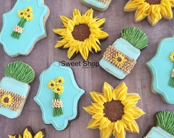 Sunflower Iced Sugar Cookies