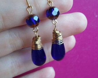 Blue earrings | saphire | dangle | earrings |  gold