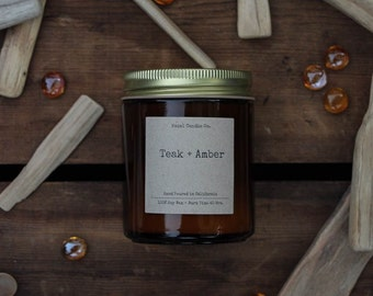 All Natural, Soy Wax, Eco Friendly, Luxury, Teak and Amber Scented Candle // Hand Poured and Handmade in California