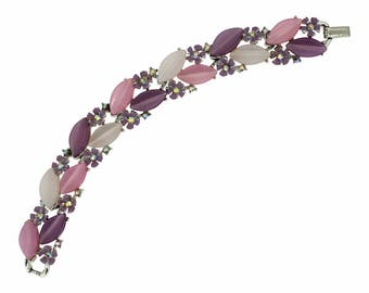 Lisner 1960s Lucite and Aurora Borealis Rhinestone Vintage Bracelet