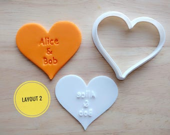 Personalized Cookie Cutter and Stamp Set, Heart Wedding Cookie Cutter and Stamp Set / Mother's Day / Party Favor Birthday / Wedding favor