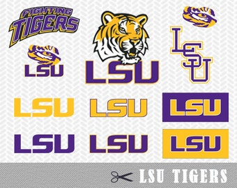 SVG DXF LSU Tigers University Louisiana Logo Vector Cut File Silhouette Cameo Cricut Design Stencil Vinyl Decal Heat Transfer Tshirt Clipart