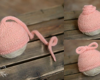 Cozy Pink Knot Newborn Hat, Newborn Photo Prop