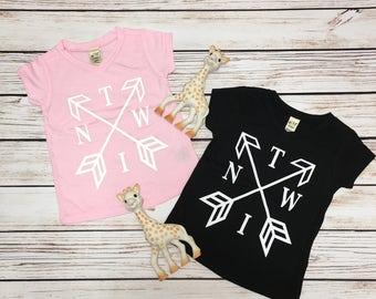 Twin Arrow Shirts, Twin Clothes, Twin Tees, Twin shirts, Cute Twin Shirts, Matching twin shirts, Twins, Twin Boys, twin Girls
