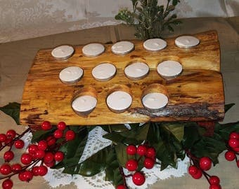 Handcrafted Solid Eastern Red Cedar 12ct Tea Light Candle Holder Center Piece Home Decor