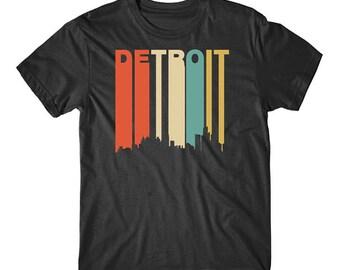 Vintage Retro 1970's Style Detroit Michigan Cityscape Downtown Skyline T-Shirt