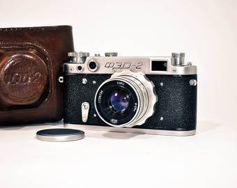 FED 2 Camera. Vintage Rangefinder Camera with lens Industar-26m 1950s