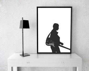 Guitar Man, Black and White, Edgy, Modern, Printable Wall Art, Photography, Music, Digital, Home Decor