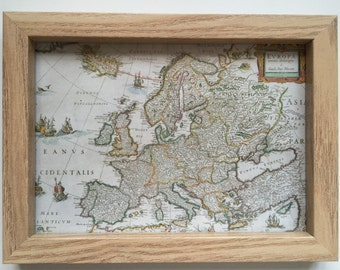 Framed Print of Antique Map of Europe, Great Britain and Continental Europe