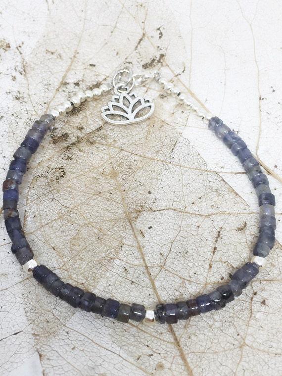 Lolite Goddess Bracelet, Gemstone Bracelet, Meditation Bracelet, Charm Bracelet, Yoga Bracelet, Lotus Bracelet, Gift For Her