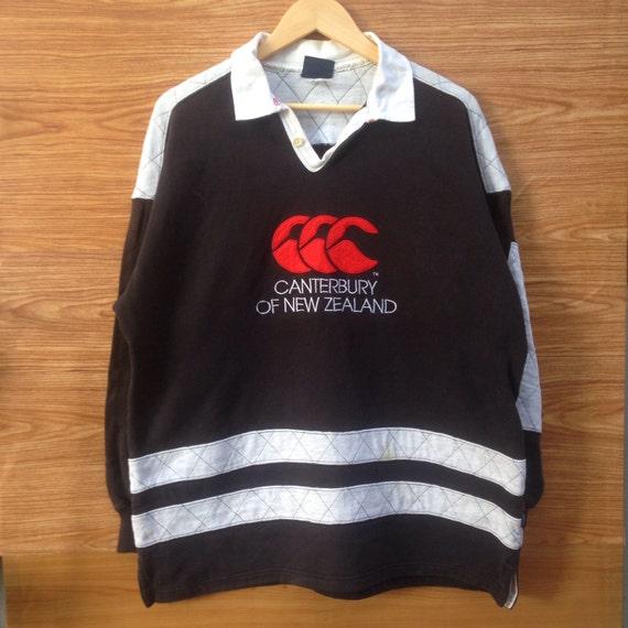 Vintage CANTERBURY of new zealand Sweatshirt Big Logo Black Colour Large Size