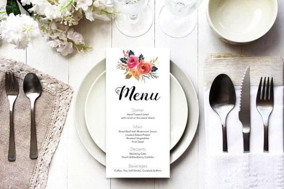 Menu word template_22,table menu, word template, weddings, editable menu card, napkin menu insert,calligraphy