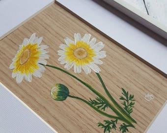 5x7 Califonia Garland Daisy on Oak Wood Veneer - Original Hand Painting - Item 035