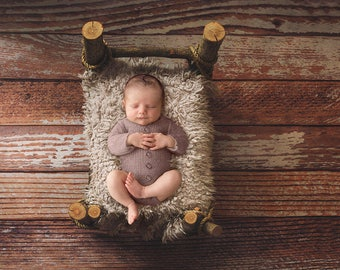 Newborn/Toddler Digital Backdrop. Wooden Bed on wooden floor. Digital newborn/toddler photo props. Top view.