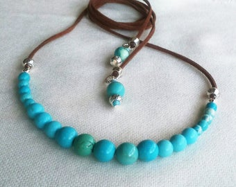 Turquoise necklace Turquoise jewelry Long necklace  Boho jewelry Summer necklace