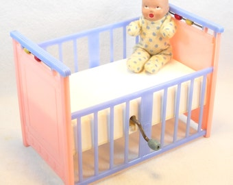 Vintage 1940 Mattel Creations Lullaby Doll Crib with Original Baby Doll and Box