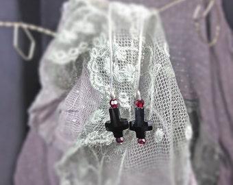 Black Upside Down Cross Dangle Earrings