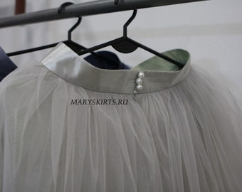 Tulle skirt with matching lining, fixed waistband with hidden zipper (color - 52 Steel)