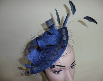 Navy Fascinator,Navy Hat,Navy Wedding Hat,Navy Ascot Hat,Wedding Hat,Occasion Hat, Fascinator