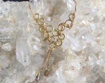 18ct gold diamond o2 Cascade Necklace / champagne diamonds / pendant necklace