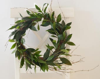 Olive Leaf Wreath, Faux Greenery Wreath, Natural Wreath, Year Round Wreath, Farmhouse Wreath, Natural Decor, Wispy Wreath, Olive Branches
