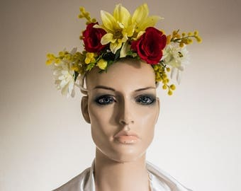Sunny Yellow and Red Headdress