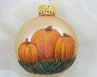 Pumpkin Ornament. Handpainted Ornament. Autumn Ornament. Thanksgiving. Halloween.