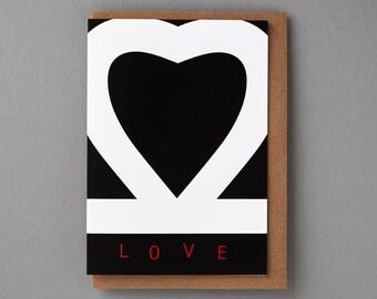 Black Heart Love - Greeting Card