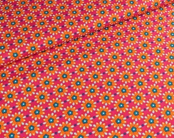 Cotton Mirabelle by Rebekah Ginda flowers pink-orange (11,50 EUR / meter)